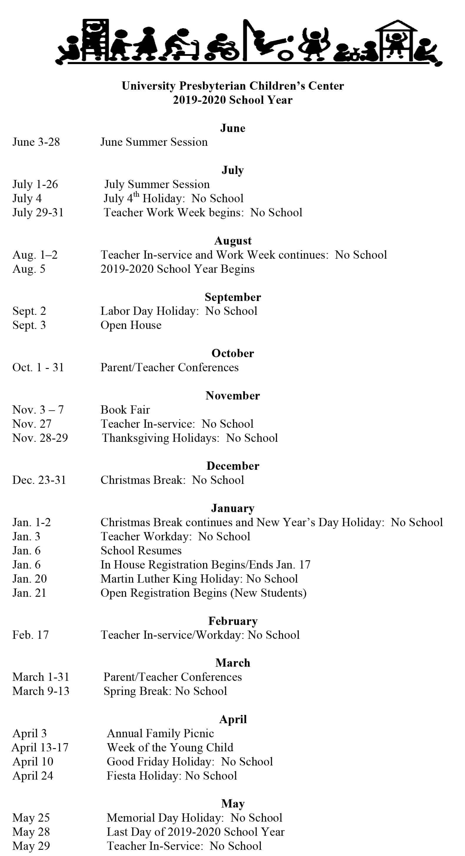 UPCC 2019-2020 calendar