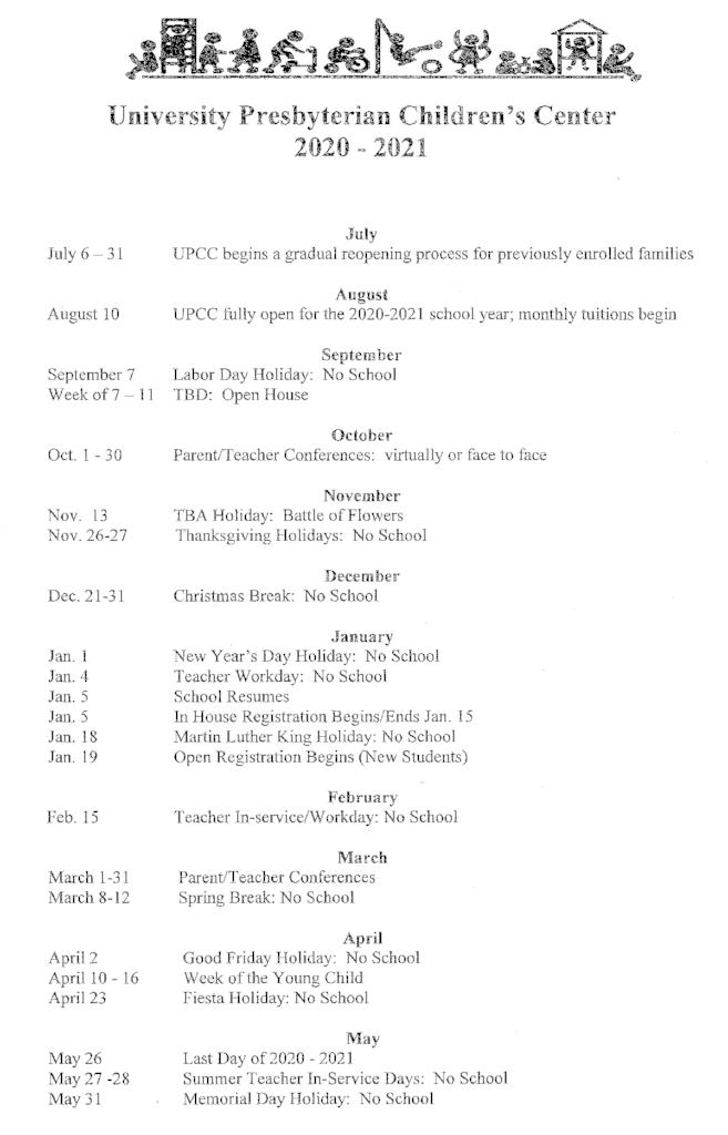 UPCC 2020-2021 Calendar