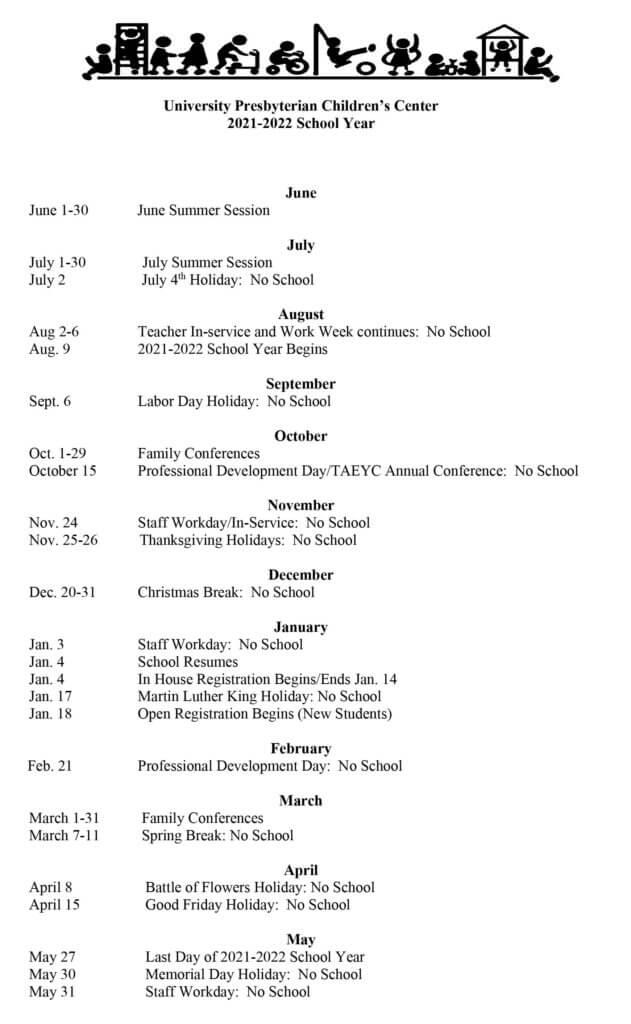 UPCC Calendar 2021-2022